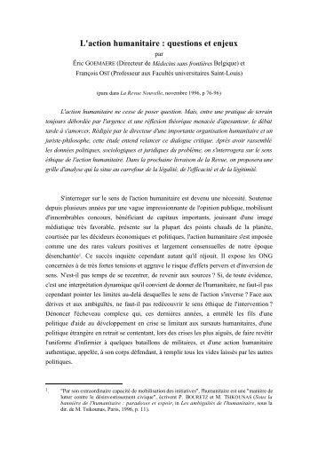 L'action humanitaire : questions et enjeux - Droits de l'Homme et ...