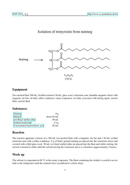 extraction of trimyristin from nutmeg