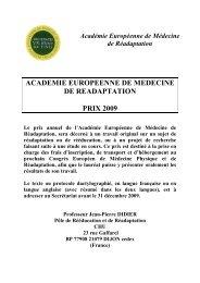 Académie Européenne de Médecine de Réadaptation - Sofmer