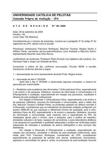 Ata de 29 de Setembro - Universidade Católica de Pelotas