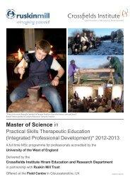 Master of Science in - Ruskin Mill Trust
