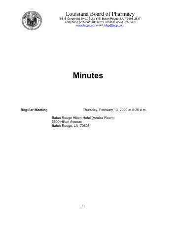 Feb 10 - Louisiana Board of Pharmacy