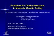 OECD Guidelines for Quality Assurance in Molecular Genetic Testing