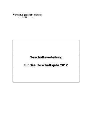 Geschäftsverteilungsplan 2012 in Rechtssachen