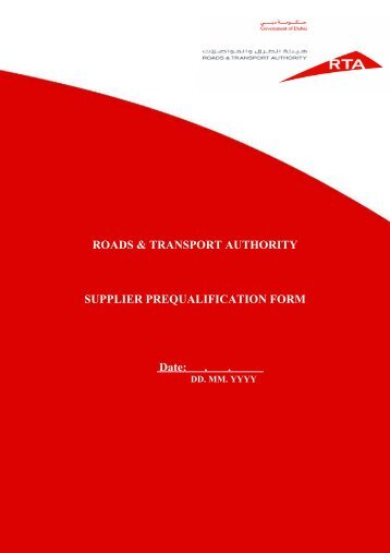 ROADS & TRANSPORT AUTHORITY SUPPLIER ...