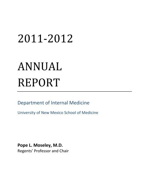 Fy 2011 Department Of Internal Medicine University Of New Mexico