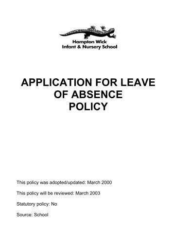 Annexure h application for leave of absence in alternative care 2 altavistaventures Image collections