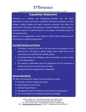 Management consulting*business planning - D'Essence