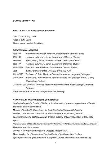 1 CURRICULUM VITAE Prof. Dr. Dr. h. c. Hans-Jochen Schiewer