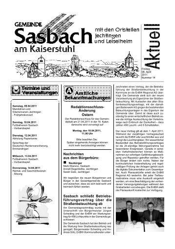 Nachrichten aus dem Bürgerbüro: Sasbach schließt Betriebs ...