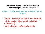 Planiranje, ciljevi i strategije turističkih manifestacija - LUMENS