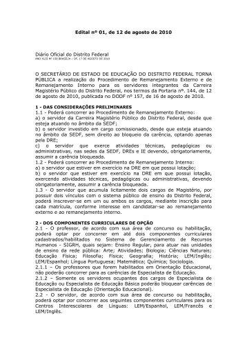 Edital nº 01, de 12 de agosto de 2010 Diário Oficial do Distrito ...