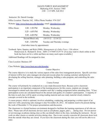 Sales Management Syllabus - UCO College of Business - University ...