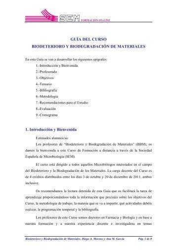 GUÍA DEL CURSO BIODETERIORO Y BIODEGRADACIÓN DE ...