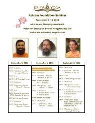 Higher Kriya Yoga Seminar - Kriya Yoga Institute