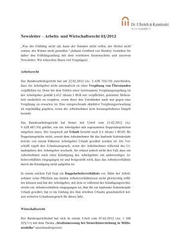 Newsletter – Arbeits- und Wirtschaftsrecht 03/2012