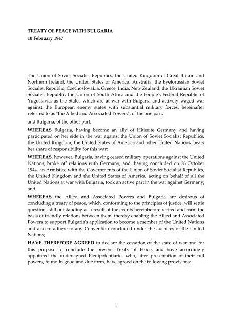 TREATY OF PEACE WITH BULGARIA 10 February 1947 ... - Grotius
