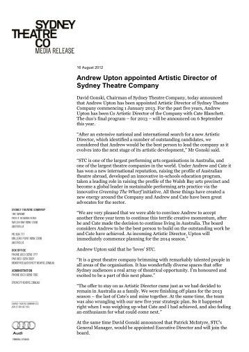 Andrew Upton appointed Artistic Director of Sydney Theatre Company