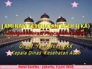 Jaminan Kesehatan Aceh Mengakselerasi Pencapaian MDGs di Aceh