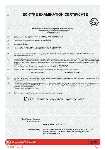 EC-TYPE EXAMINATION CERTIFICATE - Otto