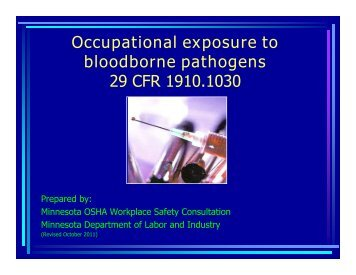Bloodborne pathogens - Minnesota Department of Labor and Industry