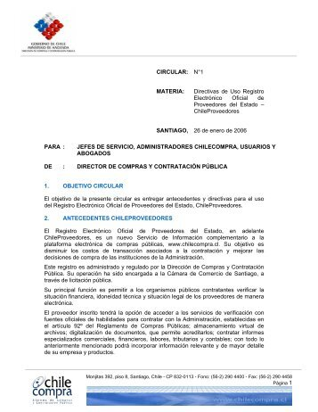 CIRCULAR: N°1 MATERIA: Directivas de Uso ... - Chileproveedores