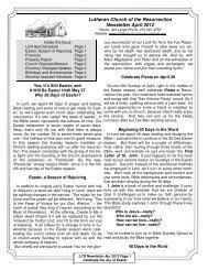 Newsletter April 2012 - Lutheran Church of the Resurrection
