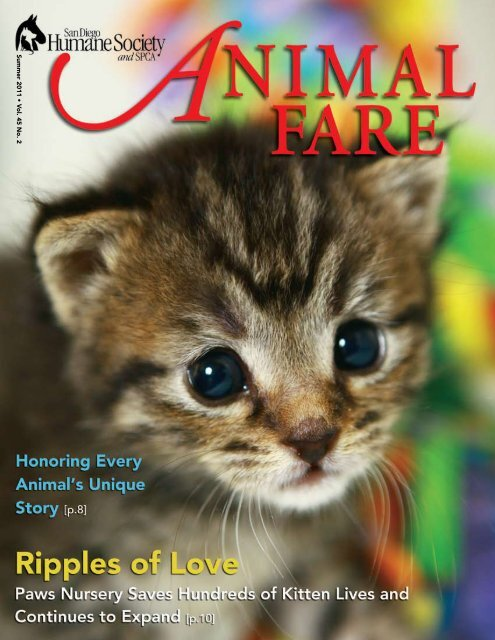 Summer 2011 • V ol. 45 No. 2 - San Diego Humane Society and SPCA