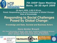 Responding to Social Challenges Posed by Global Change: