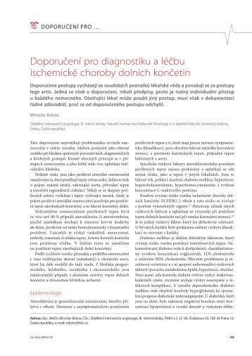 Doporučení pro diagnostiku a léčbu ischemické choroby dolních ...