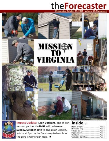 Oct 17: Cover Story - Fairmount Christian Church