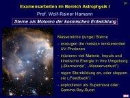 Sterne als Motoren der kosmischen Entwicklung - Astrophysik an ...