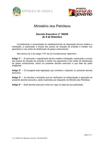 Regulamento Técnico Relativo à Instalação, Exploração e ... - saflii