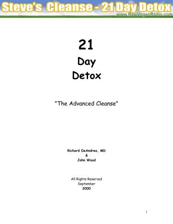 Steve's Cleanse - Advanced 21 Day Detox - Raw Vegan Radio