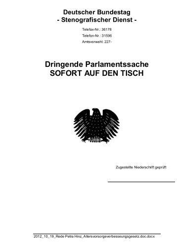 (SPD) vom 19.10.2012 - Petra Hinz