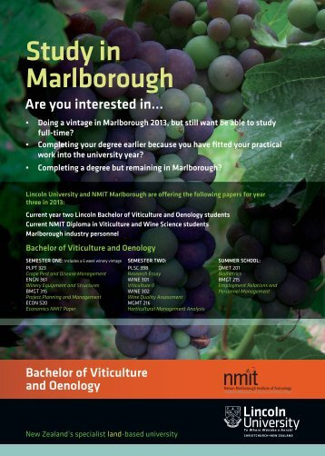 Download the Lincoln University Bachelor of Viticulture and ... - NMIT