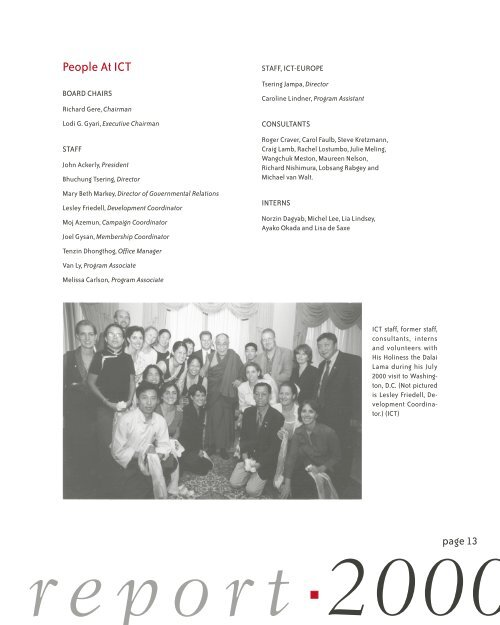 2000 ICT Annual Report - International Campaign for Tibet