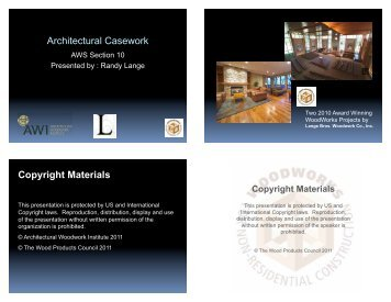 Architectural Casework Copyright Materials - WoodWorks