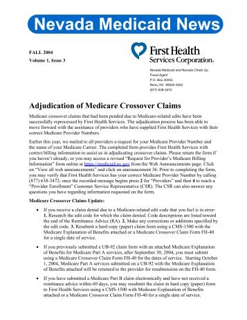 ADA Claim Form Instructions - Nevada Medicaid and Nevada Check ...