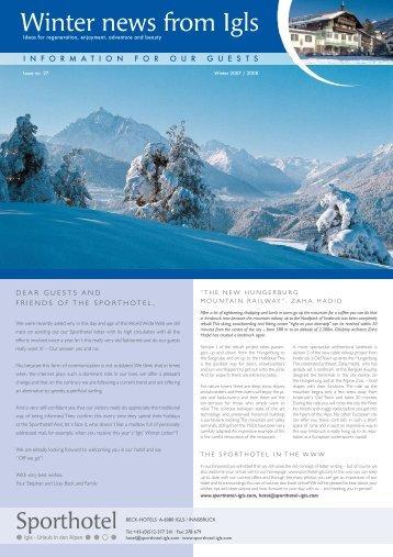 Winter news from Igls - Sporthotel Igls