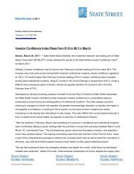 Investor Confidence Index Rises from 91.8 to 98.3 in ... - State Street