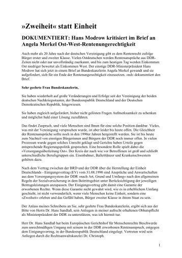 Zweiheit« statt Einheit DOKUMENTIERT: Hans Modrow ... - ISOR