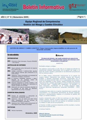 Boletín informativo N°10 -Dic 2009- pdf - Riesgo y Cambio Climático