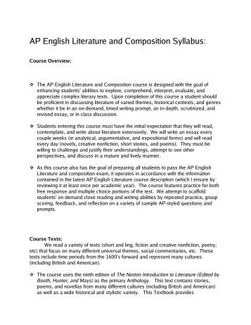 AP English Literature and Composition Syllabus: Lee Academy