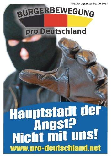Wahl progra mm Berli n 2011 - pro Deutschland