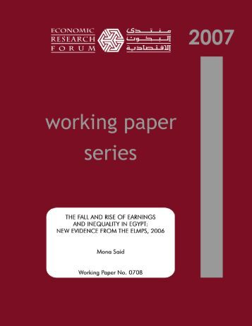 new evidence from the elmps, 2006 - Economic Research Forum