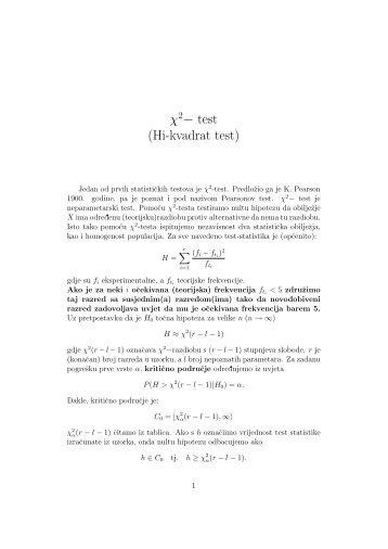 χ 2− test (Hi-kvadrat test) - HR