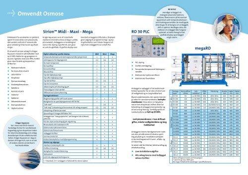 Omvendt Osmose anlæg Sirion™ Midi - Maxi - Mega ... - Krüger A/S