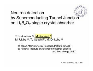 NEUTRON DETECTION BY SUPERCONDUCTING ... - LTD10