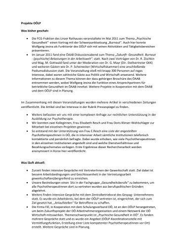 Projekte OÖLP Was bisher geschah: • Die FCG-Fraktion des Linzer ...